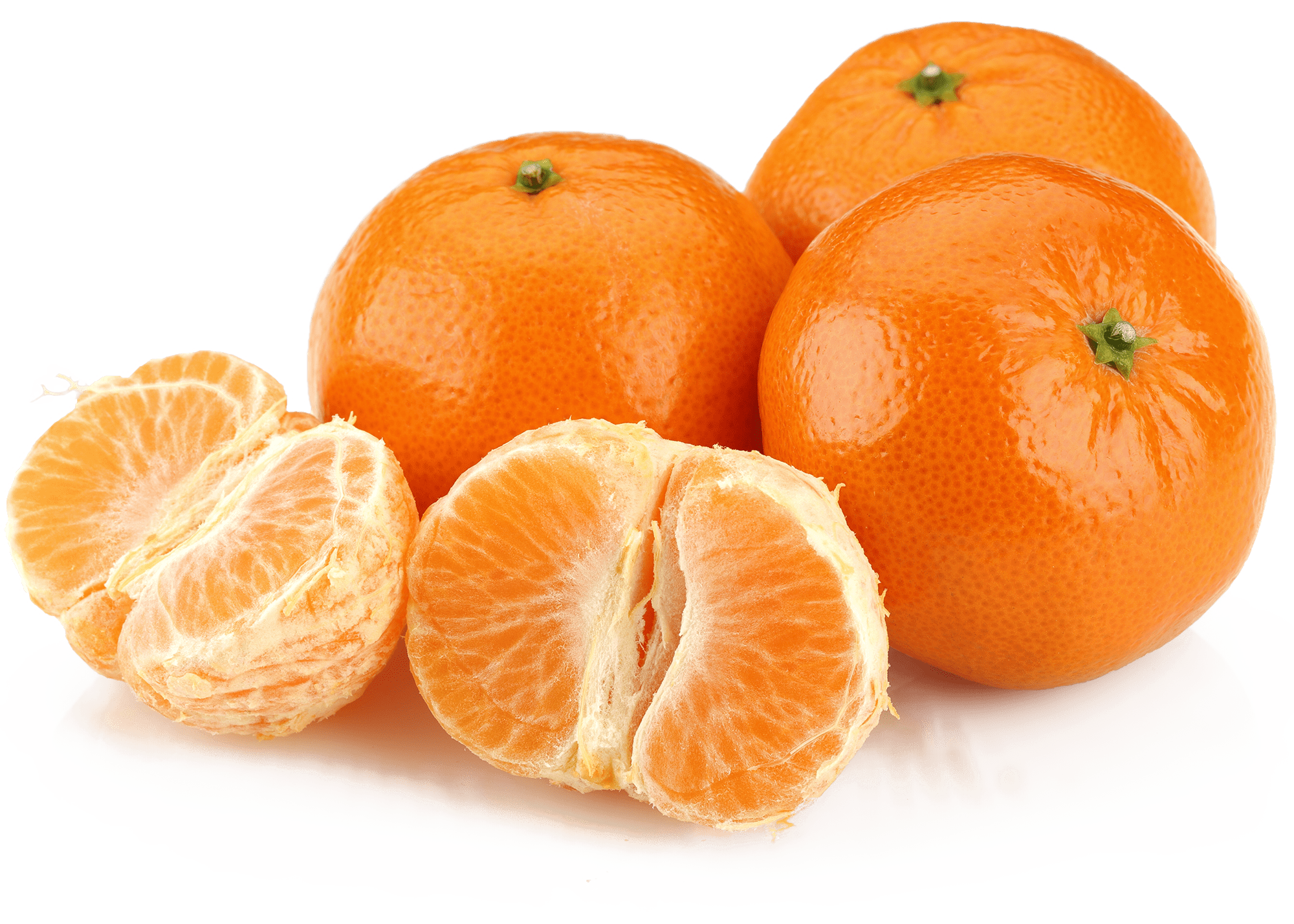 Three clementines with one peeled clementine in front